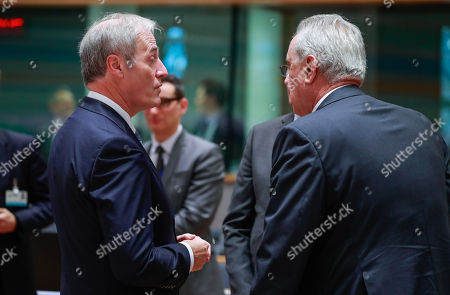 Lord Michael Bates (L), British Minister of State at the Department for International Development and Commissioner for International Cooperation, and Development of the European Union Neven Mimica at the start of an EU Foreign Affairs Council (FAC) meeting on Development at the European Council in Brussels, Belgium, 26 November 2018. Development ministers will exchange views on the ongoing work on the Africa - Europe alliance for sustainable investment and jobs.