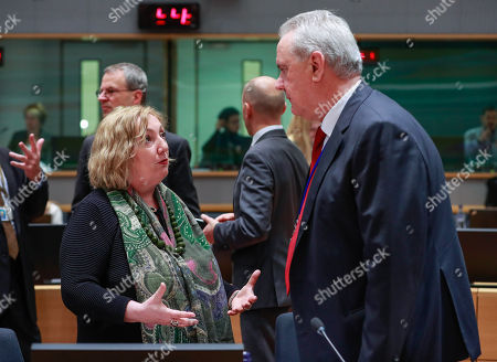 Italian Deputy Minister for Foreign Affairs Emanuela Claudia Del Re (L) and Commissioner for International Cooperation and Development of the European Union Neven Mimica talk at the start of an EU Foreign Affairs Council (FAC) meeting on Development at the European Council in Brussels, Belgium, 26 November 2018. Development ministers will exchange views on the ongoing work on the Africa - Europe alliance for sustainable investment and jobs.