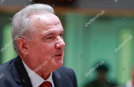 Stock Photo of Commissioner for International Cooperation and Development of the European Union Neven Mimica at the start of an EU Foreign Affairs Council (FAC) meeting on Development at the European Council in Brussels, Belgium, 26 November 2018. Development ministers will exchange views on the ongoing work on the Africa - Europe alliance for sustainable investment and jobs.