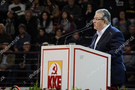 General Secretary of Communist Party of Greece, Dimitris Koutsoumpas, seen delivering a speech