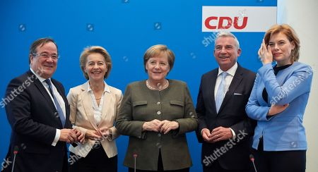 (L-R) Deputy Leader of the Christian Democratic Union (CDU) Armin Laschet, Germany's Minister of Defence Ursula von der Leyen, German Chancellor Angela Merkel, Deputy Leader of the Christian Democratic Union (CDU) Thomas Strobl and Minister of Food and Agriculture Julia Kloeckner talk prior to the CDU Federal Executive Board Meeting at the CDU party headquarters in Berlin, Germany, 26 November 2018.
