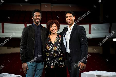Iciar Bollain (C) poses with Cuban ballet dancers and cast members Carlos Acosta (R) and Keyvin Martinez (L) during a photocall for her movie 'Yuli' in Madrid, Spain, 26 November 2018. The movie opens in Spanish theaters on 14 December.