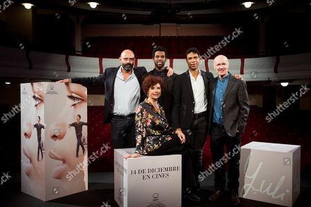 Iciar Bollain (front) poses with Cuban ballet dancers and cast members Carlos Acosta (3-R) and Keyvin Martinez (2-R) and British scriptwriter Paul Laverty (R) during a photocall for her movie 'Yuli' in Madrid, Spain, 26 November 2018. The movie opens in Spanish theaters on 14 December.