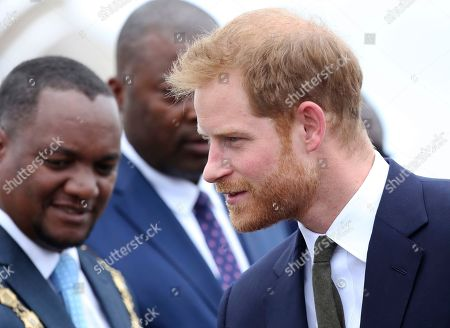 Britain's Prince Harry is welcomed upon his arrival at Kenneth Kaunda airport in Lusaka, Zambia, . Prince Harry is on a State visit to Zambia at the request of the Commonwealth office and is expected to attend various events in the Southern African country