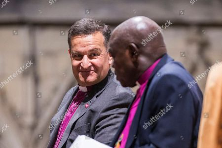 Stock Picture of The Rt Revd Dr Jonathan Frost (left) who is the new Dean of York talks to the Archbishop of York John Sentamu