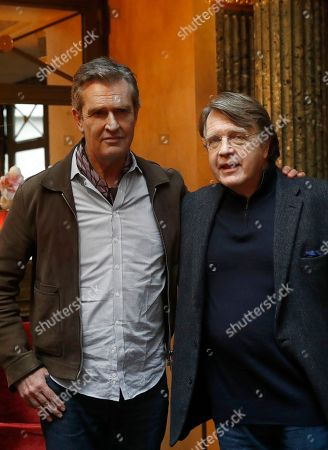 """Director Rupert Everett, left, and Merlin Holland, grandson of Oscar Wilde, pose during a photocall for the film """"The Happy Prince"""" in Paris"""