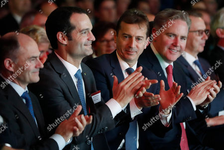 Stock Picture of (L-R) Chief Executive of Rolls Royce Warren East, Chief Executive Officer of TAP Air Portugal, Antonoaldo Neves, Guillaume Faury, President of Airbus Commercial Aircraft and Chief Executive Officer of Avolon, Domhnal Slattery attend a ceremony of delivering the first Airbus A330-Neo passenger plane to TAP Air Portugal in Colomiers near Toulouse, France, 26 November 2018. TAP Portugal presently has 70 different Airbus aircraft in their fleet.
