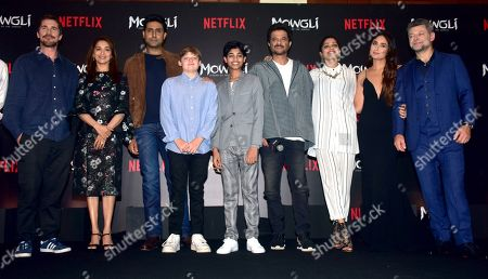 (L-R) Actrors Christian Bale, Madhuri Dixit, Abhishek Bachchan, Louis Serkis, Rohan Chand, Anil Kapoor, Freida Pinto, Kareena Kapoor Khan with Andy Serkis present at the trailer launch and press conference of Netflix's 'Mowgli - Legend of the Jungle' Hindi version at hotel JW Marriott, Juhu in Mumbai.