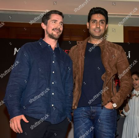 Actrors Christian Bale and Abhishek Bachchan present at the trailer launch and press conference of Netflix's 'Mowgli - Legend of the Jungle' Hindi version at hotel JW Marriott, Juhu in Mumbai.