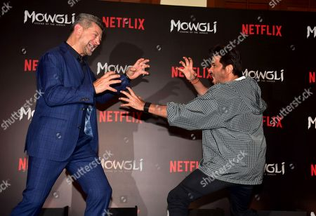 Actor Andy Serkis and Anil Kapoor present at the trailer launch and press conference of Netflix's 'Mowgli - Legend of the Jungle' Hindi version at hotel JW Marriott, Juhu in Mumbai.