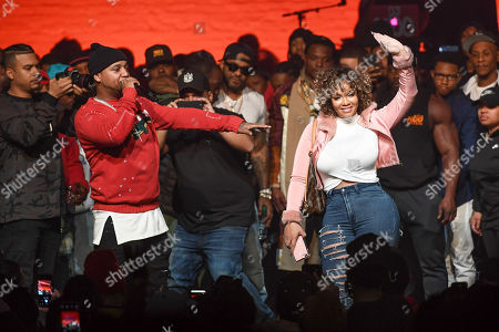 Stock Picture of Juelz Santana (L) proposes to Kimberly Vanderhee onstage