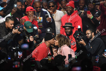 Stock Image of Juelz Santana (L) proposes to Kimberly Vanderhee onstage