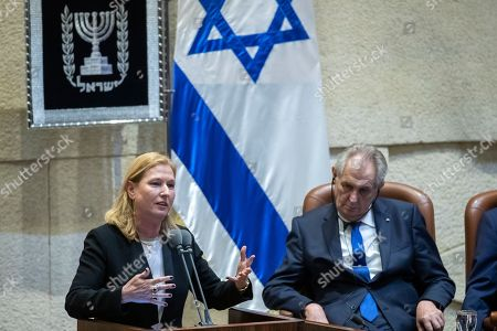 President of the Czech Republic Milos Zeman (R) Listens to Tzipi Livni, Israel's opposition leader, as she addresses a special session of the Israeli Knesset (Parliament) in Jerusalem, 26 November 2018. Zeman is on a two-day official visit to Israel and said he intends to move the Czech Embassy to Jerusalem.
