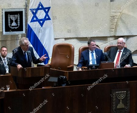 Stock Picture of President of the Czech Republic Milos Zeman (L) speaking as Israeli President Reuven Rivlin (R) and Israeli Speaker of the Knesset Yuli Edelstein (C) listen during the special session of the Israeli Knesset (Parliament) in Jerusalem, 26 November 2018. Zeman is on a two-day official visit to Israel and said he intends to move the Czech Embassy to Jerusalem.