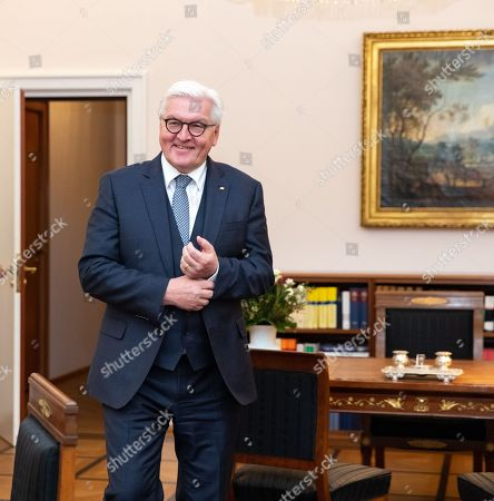 German President Frank-Walter Steinmeier poses prior to a conversation with British writer and ceramics artist Edmund de Waal and curator Ruth Ur (both unseen) at the Bellevue Palace in Berlin, Germany, 26 November 2018.