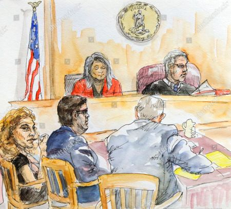 This artwork shows James Alex Jr., second from left, along with his attorneys, Denise Lunsford, left, and John Hill, front right, as Judge Richard E. Moore, top right, reads charges during jury selection in the trial of Fields in Charlottesville General District Court in Charlottesville, Va., . A court clerk is at top left