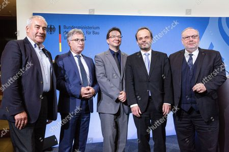 (L-R) Anti-Semitism Commissioner of Bavaria Ludwig Spaenle, Anti-Semitism Commissioner of Saxony-Anhalt Wolfgang Schneiss, Anti-Semitism Commissioner of Baden-Wuerttemberg Michael Blume, The German Federal Anti-Semitism Commissioner Felix Klein  , Anti-Semitism Commissioner of Rheinland-Pfalz Dieter Burgard, pose for a group photo after a press conference following a meeting at the at the Federal Ministry of the Interior, construction and homeland in Berlin, Germany, 26 November 2018. German Federal Anti-Semitism Commissioner Felix Klein invited the representatives from several German federal states for a first coordination meeting; To date, six federal states have appointed their own anti-Semitism commissioner, he emphasizes the importance of the position, as the counter measures for anti-Semitism-based-crimes are handled almost entirely on the state level. Representatives of Jewish organizations also attended for exchange of Ideas.