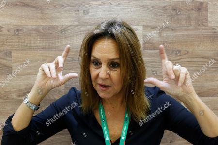 Spanish writer Maria Duenas speaks in an interview in the framework of the International Book Fair (FIL) of Guadalajara, in Guadalajara, Mexico, 26 November 2018. For nine days, from 24 November to 02 December the 32nd edition of the FIL will bring together 20,000 book professionals and more than 2,000 publishers in 34,000 square meters of exhibition, where about 400,000 titles will be on sale.