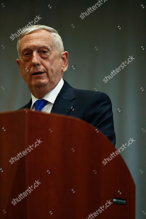 Stock Photo of U.S. Secretary of Defense James Mattis, speaks during a change of command ceremony at the n U.S. Southern Command headquarters, in Doral, Fla
