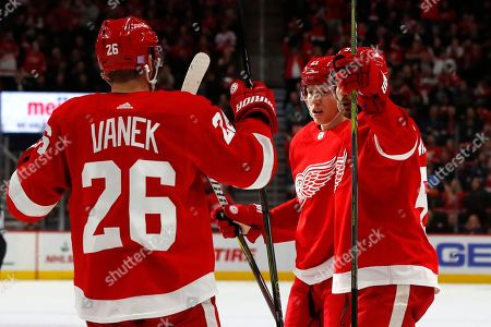 Detroit Red Wings defenseman Dennis Cholowski, center, celebrates his goal with Thomas Vanek (26) and Frans Nielsen in the second period of an NHL hockey game against the Columbus Blue Jackets, in Detroit
