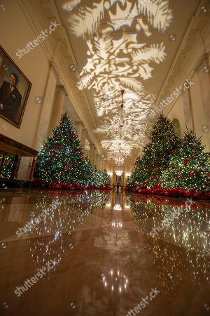 white house christmas holiday decorations on display on the state floor of the executive mansion of