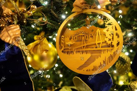 stock image of white house christmas holiday decorations on display on the state floor of the
