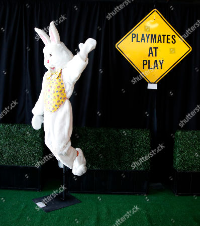 Hugh Hefner's Easter bunny costume and a 'Playmates at Play' sign are displayed as part of the Julien's auction of famed Playboy magazine creator Hugh Hefner's belongings in Beverly Hills, California, USA, 26 November 2018. Hugh Hefner died at the age of 91 on 27 September 2017. The auction of Hefner's personal belongings will take place 30 November and 01 December 2018.