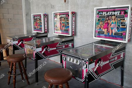 Playboy pinball machines are displayed as part of the Julien's auction of famed Playboy magazine creator Hugh Hefner's belongings in Beverly Hills, California, USA, 26 November 2018. Hugh Hefner died at the age of 91 on 27 September 2017. The auction of Hefner's personal belongings will take place 30 November and 01 December 2018.