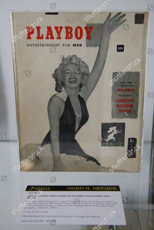 Hugh Hefner's personal copy of the first Playboy issue featuring Marilyn Monroe is displayed as part of the Julien's auction of famed Playboy magazine creator Hugh Hefner's belongings in Beverly Hills, California, USA, 26 November 2018. Hugh Hefner died at the age of 91 on 27 September 2017. The auction of Hefner's personal belongings will take place 30 November and 01 December 2018.