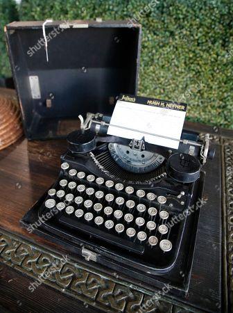 Hugh Hefner's college typewriter is displayed as part of the Julien's auction of famed Playboy magazine creator Hugh Hefner's belongings in Beverly Hills, California, USA, 26 November 2018. Hugh Hefner died at the age of 91 on 27 September 2017. The auction of Hefner's personal belongings will take place 30 November and 01 December 2018.