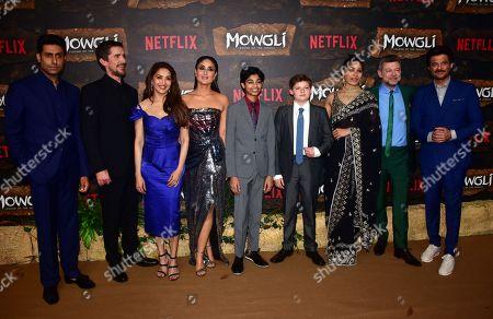 L-R: Actors Abhishek Bachchan, Christian Bale, Madhuri Dixit, Kareena Kapoor, Rohan Chand, Louis Serkis, Freida Pinto, Andy Serkis and Anil Kapoor
