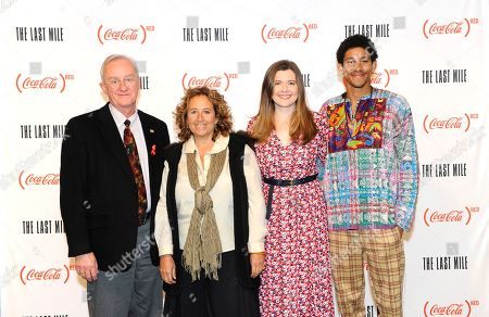 """Kevin Burns, Kim Snyder, Meaghan Condon, Keiynan Lonsdale. Kevin Burns of Action Wellness, Kim Snyder, director of """"The Last Mile,"""" Meaghan Condon of (RED), and actor Keiynan Lonsdale, pose ahead of a panel discussion at the Coca-Cola (RED) screening of """"The Last Mile"""" at the Prince Theater on in Philadelphia"""