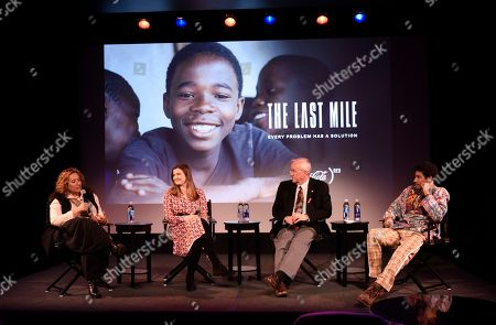 "Stock Image of Kim Snyder, Meaghan Condon, Kevin Burns, Keiynan Lonsdale. Kim Snyder, Meaghan Condon, Kevin Burns and Keiynan Lonsdale discuss the making of ""The Last Mile"" and the importance of continuing the fight against HIV/AIDS during a panel discussion at the Coca-Cola (RED) event at Prince Theater on in Philadelphia"