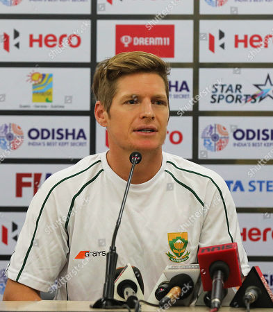 South African national field hockey team captain Tim Drummond speaks during a press conference at the Kalinga Stadium in Bhubaneswar, India, 27 November 2018. The Field Hockey World Cup will take place from 28 November until 16 December 2018 in Bhubaneswar, Odisha.