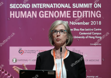 Stock Picture of Jennifer Doudna, a scientist at the University of California, Berkeley, speaks during the Human Genome Editing Conference in Hong Kong, . Scientists and bioethics experts reacted with shock, anger and alarm Monday to a Chinese researcher's claim that he helped make the world's first genetically edited babies