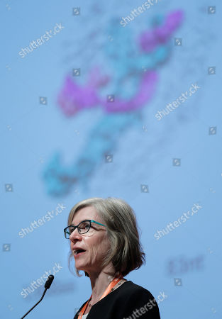 Stock Photo of Jennifer Doudna, a scientist at the University of California, Berkeley, speaks during the Human Genome Editing Conference in Hong Kong, . Scientists and bioethics experts reacted with shock, anger and alarm Monday to a Chinese researcher's claim that he helped make the world's first genetically edited babies
