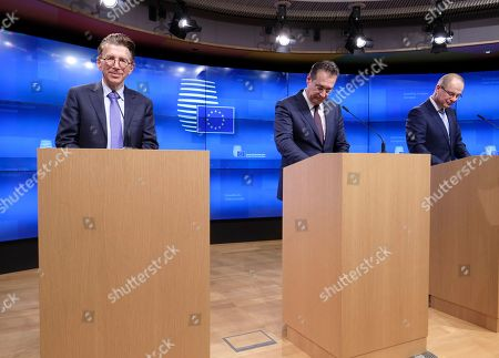 Stock Photo of (L-R) Martin Kallen, UEFA Chief Operation Officer for the organization of the UEFA EURO 2020, Austrian vice-chancellor Heinz-Christian Strache and EU commissioner for Culture Tibor Navracsics, attend a press conference during a European sports ministers council  in Brussels, Belgium, 27 November 2018.