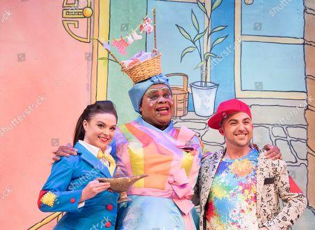Gemma Sutton as Aladdin, Clive Rowe as Widow Twankey, Alim Jayda as Dishi