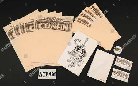 Stock Image of A Christmas card and a set of original production stationery from John Milius' fantasy epic Conan The Barbarian