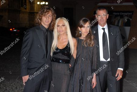 Donatella Versace with Marttio Paul Beck and their sons Daniel and daughter Allegra