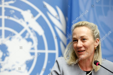 US Principal Deputy Assistant Secretary of United State for South and Central Asian Affairs, Alice Wells, speaks to the media during a press conference, at the Geneva Conference on Afghanistan, at the European headquarters of the United Nations in Geneva, Switzerland, 27 November 2018.