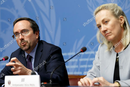 US Principal Deputy Assistant Secretary for South and Central Asian Affairs, Alice Wells, (R), sitting next to John R. Bass, (L), US Ambassador to Afghanistan, during a press conference, at the Geneva Conference on Afghanistan, at the European headquarters of the United Nations in Geneva, Switzerland, 27 November 2018.