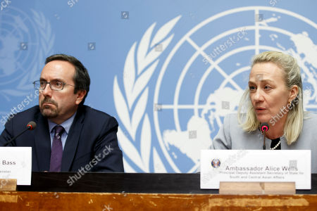 US Principal Deputy Assistant Secretary for South and Central Asian Affairs, Alice Wells, (R), sitting next to John R. Bass, (L), US Ambassador to Afghanistan, speaks to the media during a press conference, at the Geneva Conference on Afghanistan, at the European headquarters of the United Nations in Geneva, Switzerland, 27 November 2018.