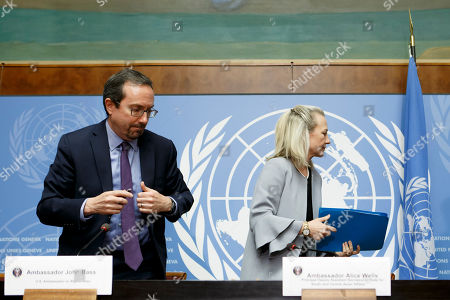 John R. Bass, (L), US Ambassador to Afghanistan, and US Principal Deputy Assistant Secretary for South and Central Asian Affairs, Alice Wells, (R), leave the press conference, at the Geneva Conference on Afghanistan, at the European headquarters of the United Nations in Geneva, Switzerland, 27 November 2018.
