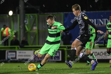 Forest Green Rovers Ben Morris(22) goes to shoot at goal during the EFL Sky Bet League 2 match between Forest Green Rovers and Colchester United at the New Lawn, Forest Green