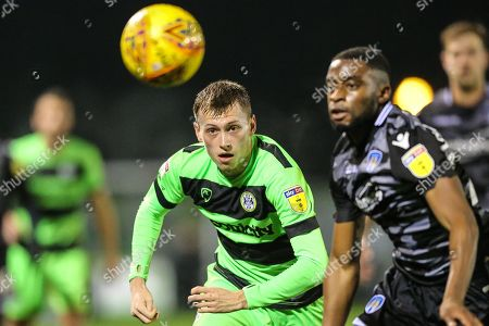 Forest Green Rovers Ben Morris(22) with his eye on the ball during the EFL Sky Bet League 2 match between Forest Green Rovers and Colchester United at the New Lawn, Forest Green
