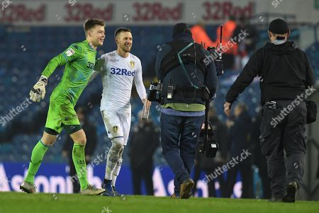 Stock Picture of Bailey Peacock-Farrell of Leeds United and man of the match Barry Douglas of Leeds United celebrate at full time
