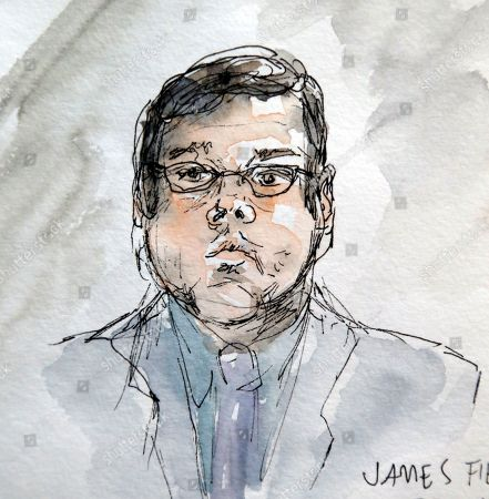 This artwork shows James Alex Jr., during the second day of jury selection in his trial in Charlottesville General District Court in Charlottesville, Va