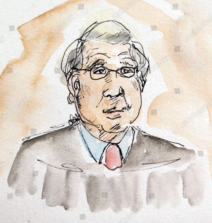 This artwork shows Judge Richard Moore who is presiding over the trial of James Alex Jr. during the second day of jury selection in Charlottesville General District Court in Charlottesville, Va