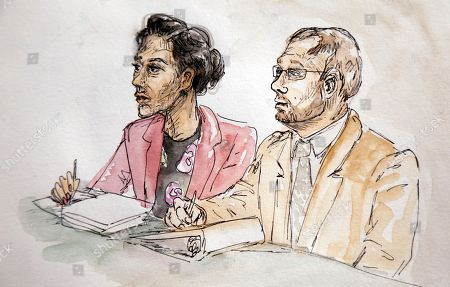 This artwork shows Commonwealth's Attorney Joseph Platania, right, and Senior Assistant Commonwealth's Attorney Nina-Alice Antony, left, during the second day of jury selection in the trial of James Alex Jr., in Charlottesville General District Court in Charlottesville, Va